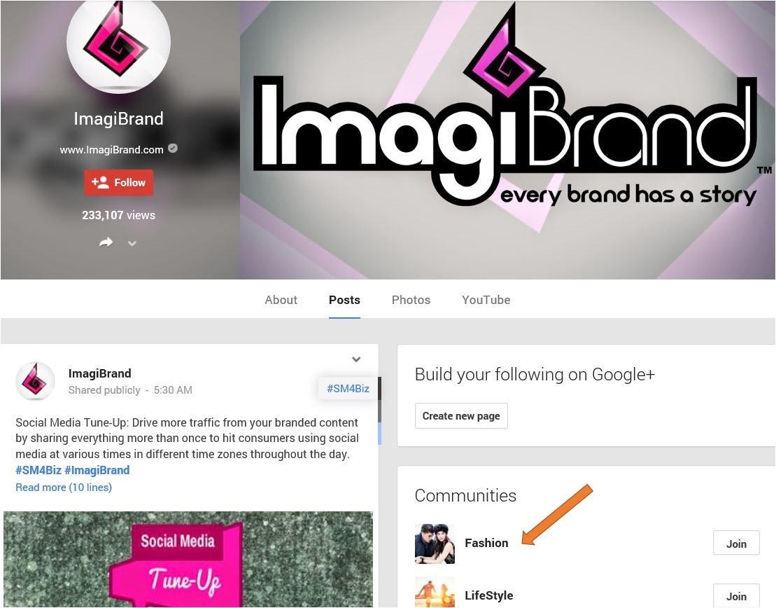 Brand page showcasing community screenshot