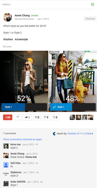 Google+ Polls in Fashion Community